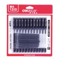 deli得力水笔  0.5mm 黑色 12支笔+12支笔芯 卡装得力中性笔