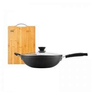 nolte赫曼德臻铁居家两件套  炒锅+菜板 实用家居厨房用品 臻铁炒锅 砧板菜板