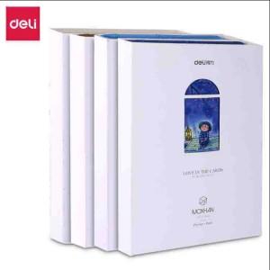 deli得力手账本 皮面210mm 100张 得力笔记本皮面本记事本子 颜色随机SZ606