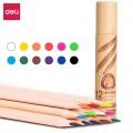 deli得力彩色铅笔 原木油性彩色铅笔 1桶装 学生儿童绘图画画涂鸦填色彩铅